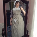1800 linen apron, dress & cap