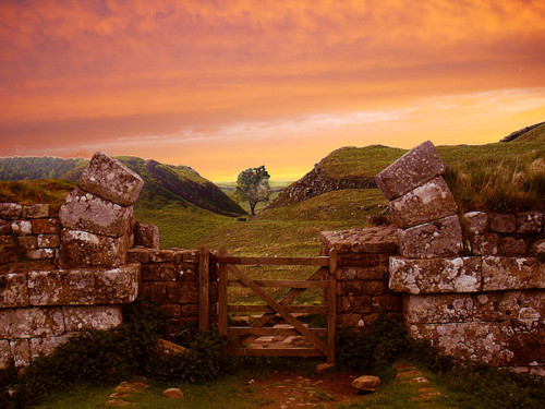 Ancient Hadrian's Wall, Northumberland, England