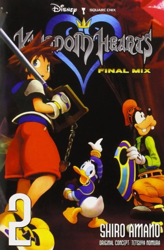 Cover of Kingdom Hearts: Final Mix volume 2. Sora, Goofy, and Donald appear to be traveling through catacombs and are looking around.