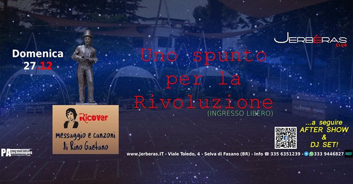 27.12 #RICOVER in UnoSpuntoPerLaRivoluzione (FREE ENTRY) + DJ Set @Jerberas Club