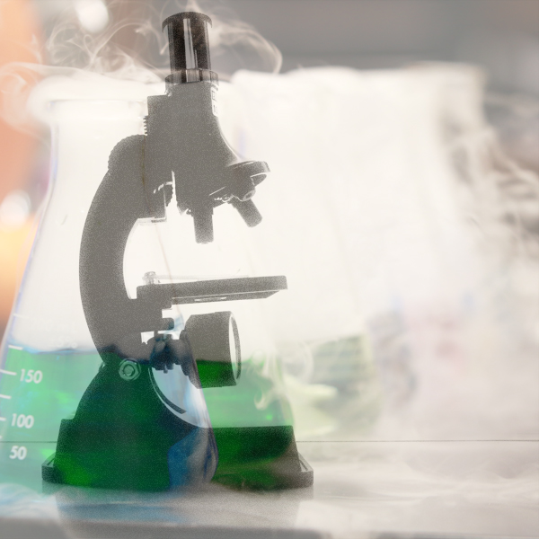 A microscope and beakers
