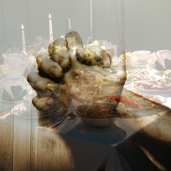 Photos of hands praying over a holiday dinner table © FreeImages/Jesper Noer and Karolina Agnieszka