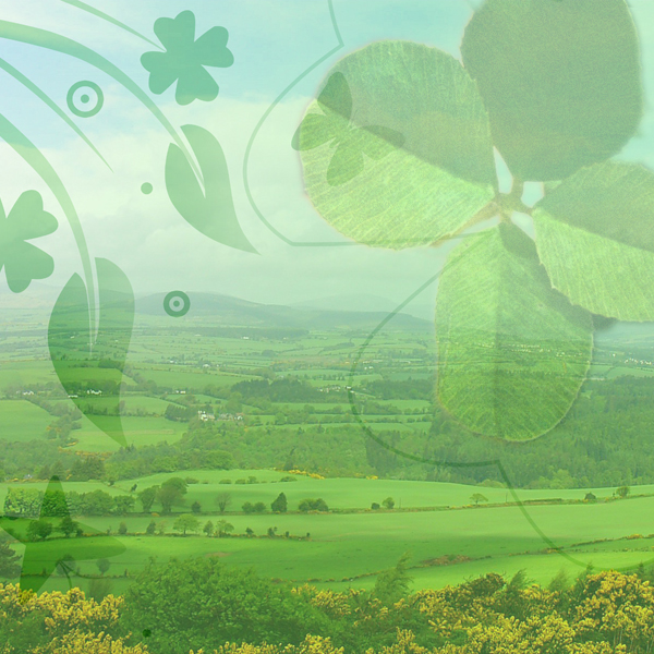 Images of Ireland and four leaf clovers. Photos © FreeImages/Brian Lary, Rob Gonyea, and Bill Davenport