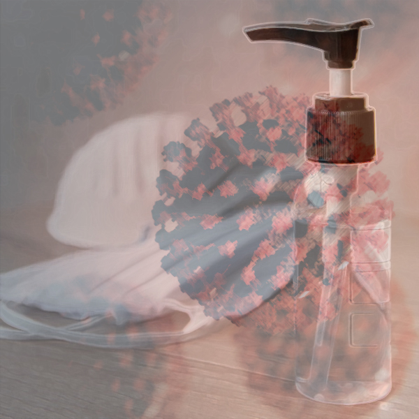 The novel coronavirus hovers over a bottle of hand sanitizer and several face masks. Photos © FreeImages.com