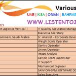 Huge Job Vacancies in AGILITY @Dubai,UAE,Oman,Saudi Arabia ,Kuwait