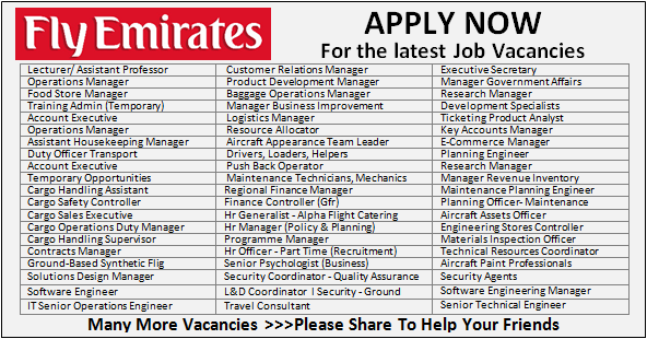 Huge Job Vacancies in Emirates Group Airport | Any Graduate/ Any Degree / Diploma / ITI |Btech | MBA | +2 | Post Graduates | Dubai-UAE