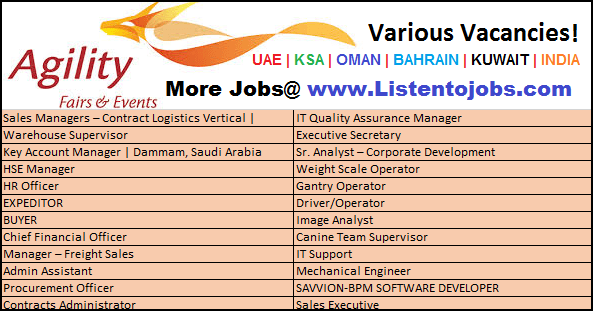 Latest  Job Vacancies in Agility | Any Graduate/ Any Degree / Diploma / ITI |Btech | MBA | +2 | Post Graduates | UAE-Oman-Dubai-Saudi Arabia-Kuwait