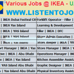 Latest Job Vacancies in IKEA  | Any Graduate/ Any Degree / Diploma / ITI |Btech | MBA | +2 | Post Graduates | Dubai,Qatar,Abu Dhabi,Egypt