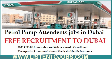 Petrol Pump Attendants jobs in Dubai |3000-5000 AED|Overtime + Transport + Accommodation + Medical + Health Insurance|Metric 2016