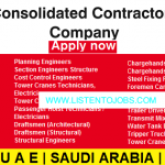 Latest Job Vacancies in Consolidated Contractors Company 2021| Any Graduate/ Any Degree / Diploma / ITI |Btech | MBA | +2 | Post Graduates | UAE