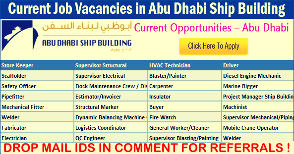 LATEST Job Vacancies in Abu Dhabi Ship Building (ADSB) | Any Graduate/ Any Degree / Diploma / ITI |Btech | MBA | +2 | Post Graduates | Abu Dhabi,UAE