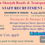 Latest Government Job Vacancies in Sharjah Road & Transport Authority 2020 | Any Graduate/ Any Degree / Diploma / ITI |Btech | MBA | +2 | Post Graduates| Sharjah |  Submit Your Resume
