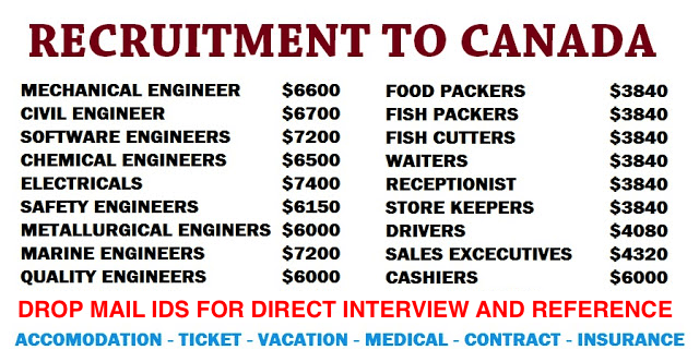 3000+ LATEST JOB VACANCIES IN CANADA |VARIOUS POST|HIGH SALARY|ACCOMMODATION|MEDICAL|INSURANCE