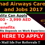 Latest Job Vacancies in Etihad Airways | Any Graduate/ Any Degree / Diploma / ITI |Btech | MBA | +2 | Post Graduates | Abu Dhabi,UAE