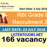 RBI Recruitment 2018  | Any Graduate | Officers in Grade – B | 166 Vacancies | Across India | Last Date 23rd  July 2018 | Apply Online