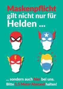 Poster zur Maskenpflich in unserem Copyshop