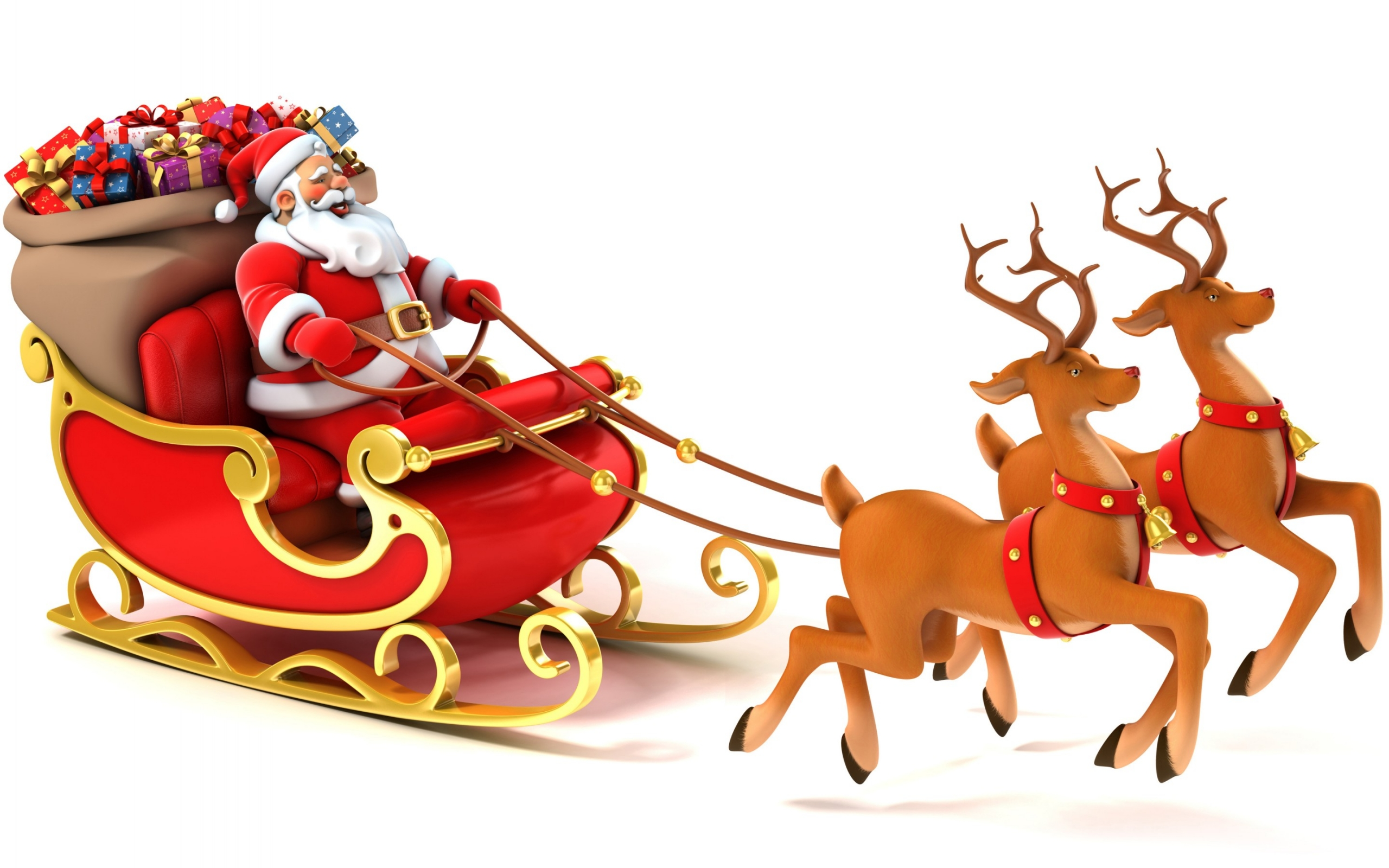 Happy Santa And Reindeer Wallpaper For Desktop