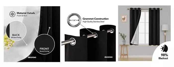 Details of Deconovo Grommet Top Blackout Curtains