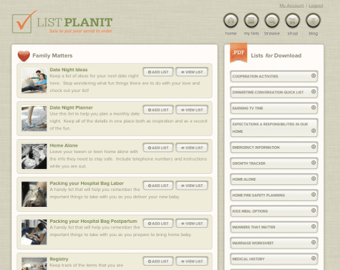 Browse for Lists   ListPlanit.com