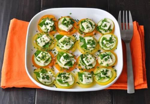 Summer appetizer: Tomato & Feta Stacks with Basil | ListPlanIt.com