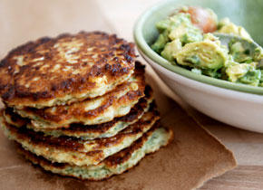 Summer appetizer: Sweetcorn Cakes with Avocado Salsa | ListPlanIt.com