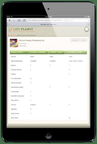 School Supply Shopping List | ListPlanIt.com