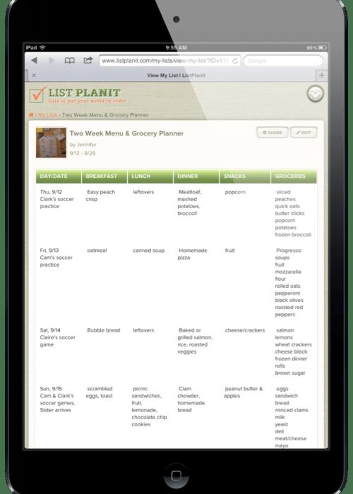 List Spotlight:  Two-Week Menu & Grocery Planner | ListPlanIt.com