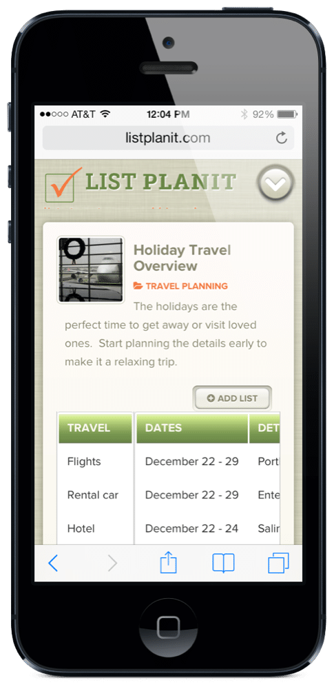 Holiday Travel Overview | ListPlanIt.com