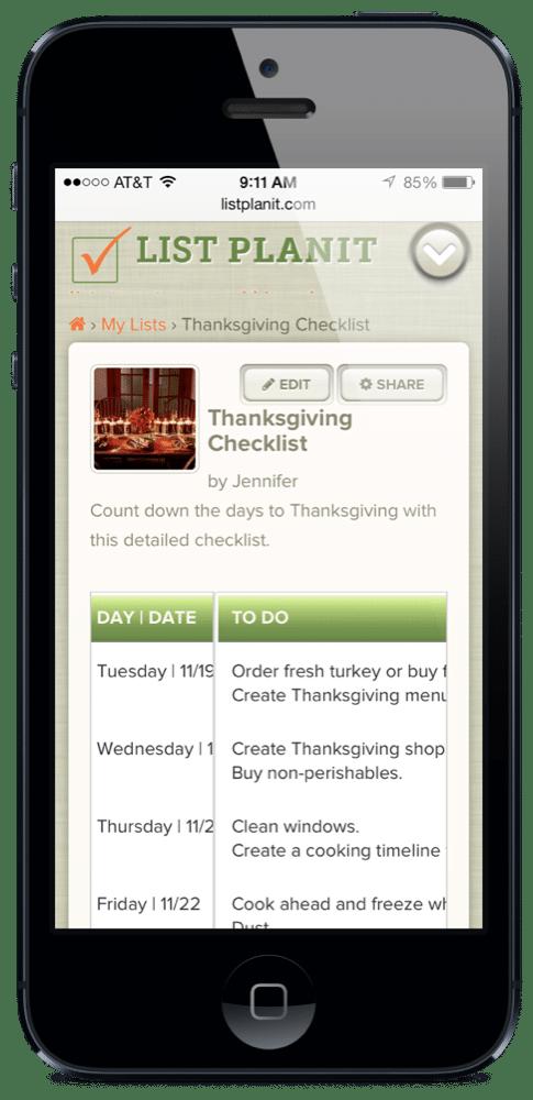 Thanksgiving Checklist | ListPlanIt.com