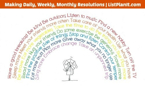 Making daily, weekly, monthly resolutions | ListPlanIt.com