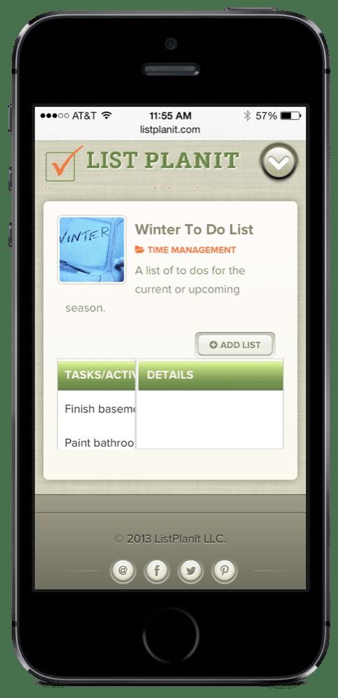 Winter To Do List | ListPlanIt.com