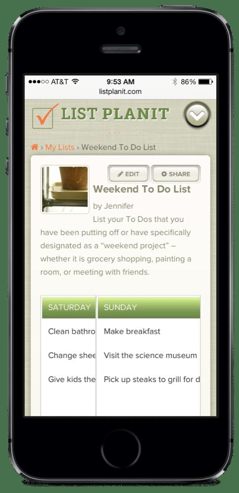 Weekend To Do List | ListPlanIt.com