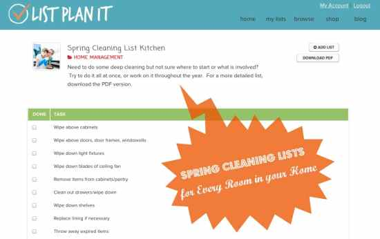 Spring Cleaning Lists | ListPlanIt.com