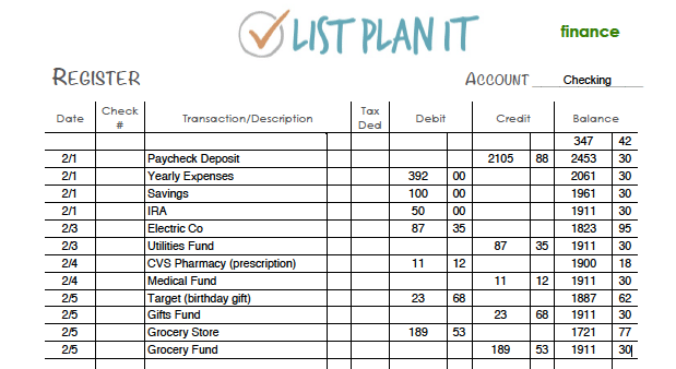 Checking Account Register | ListPlanIt.com