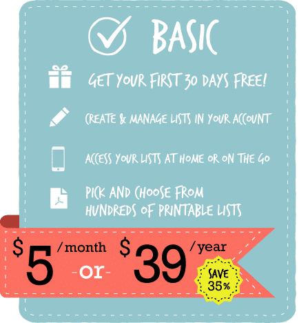 Basic Membership Level | ListPlanIt.com