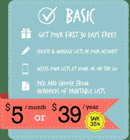 Basic Membership Level   ListPlanIt.com