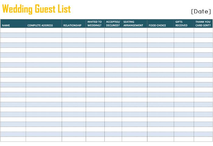 wedding address list template