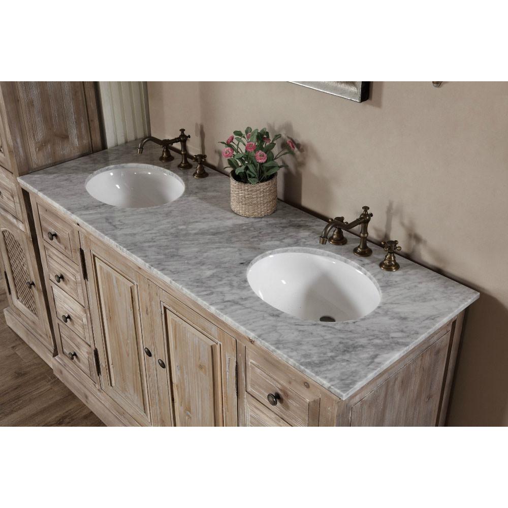 60 inch rustic double sink bathroom