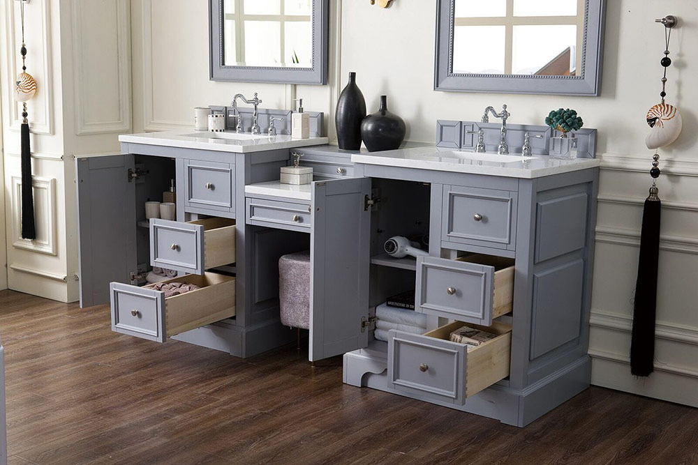 82 double vanity set with makeup table