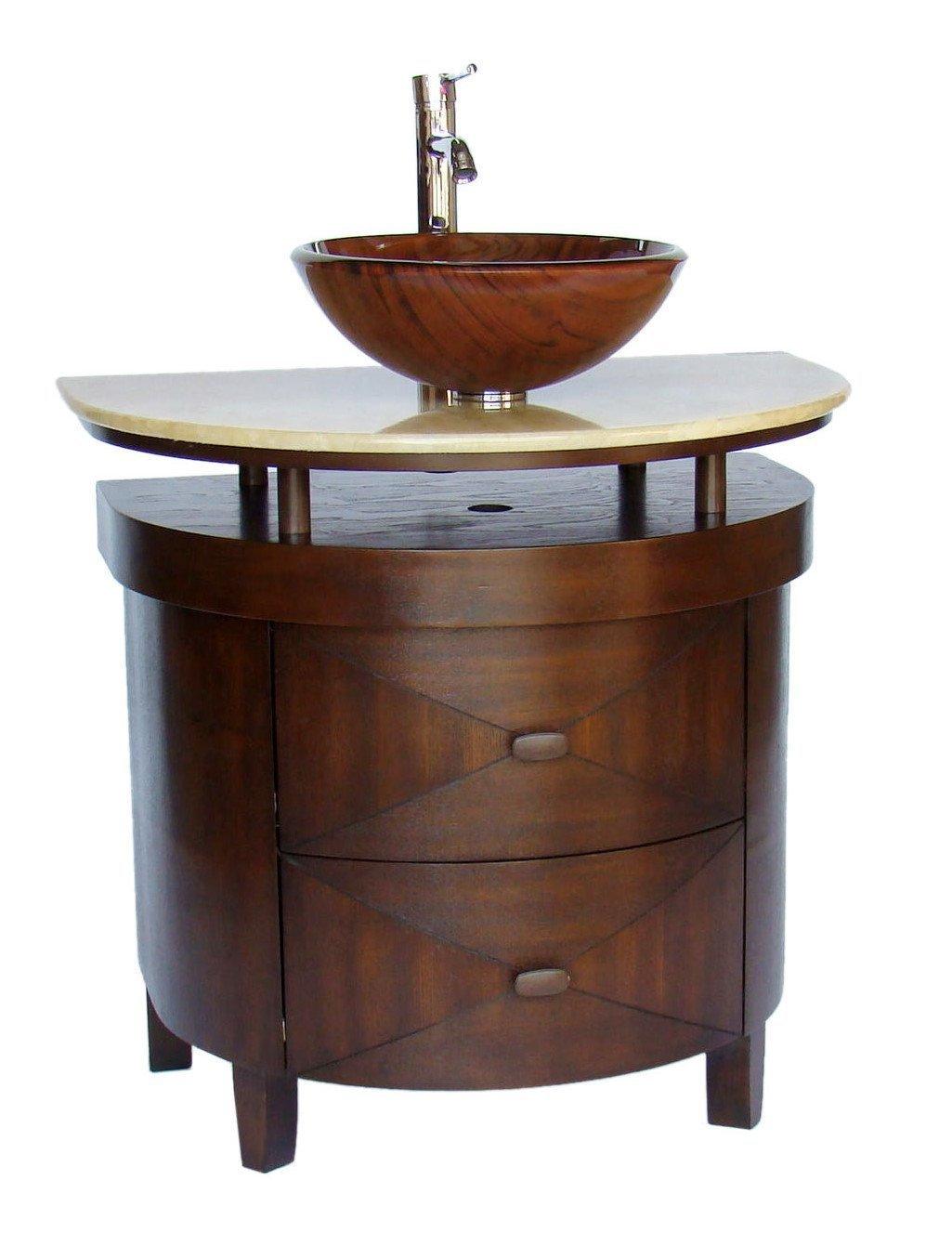 Walnut Half Round Bathroom Vanity Polyvore