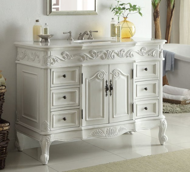 adelina 48 inch traditional style antique white bathroom vanity