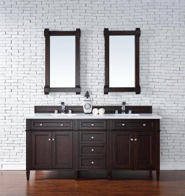 contemporary 72 inch double sink bathroom vanity mahogany finish no top