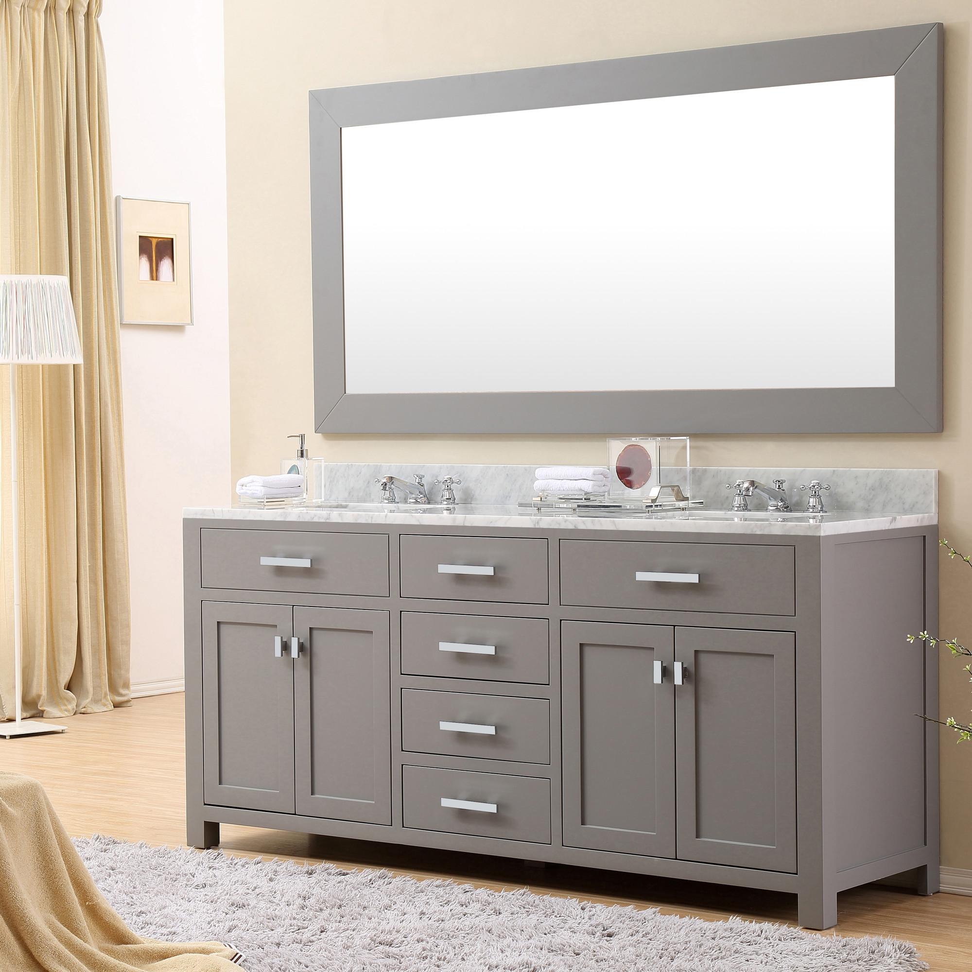72 inch gray double sink bathroom