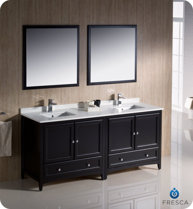 "fresca oxford collection 72"" antique white traditional double sink"