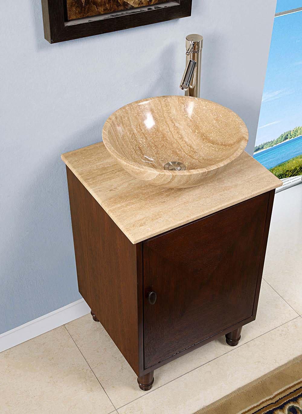 20 inch travertine vessel sink vanity