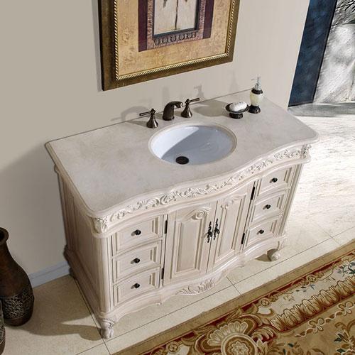 silkroad exclusive 48 inch bathroom vanity: cream marfil counter top