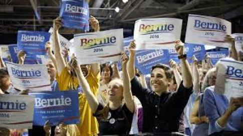 Millennial supporters at Bernie Sanders Rally
