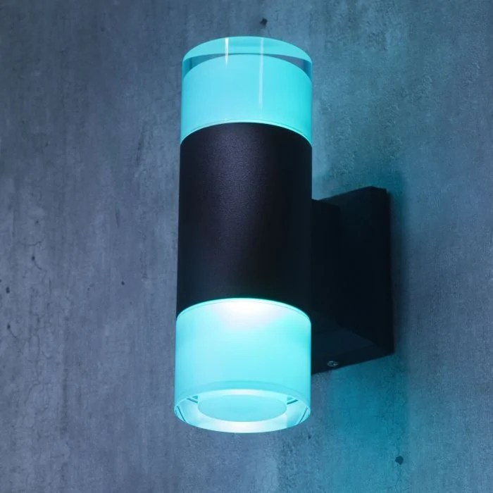 remote controlled 2 light led colour changing up and down outdoor wall light black