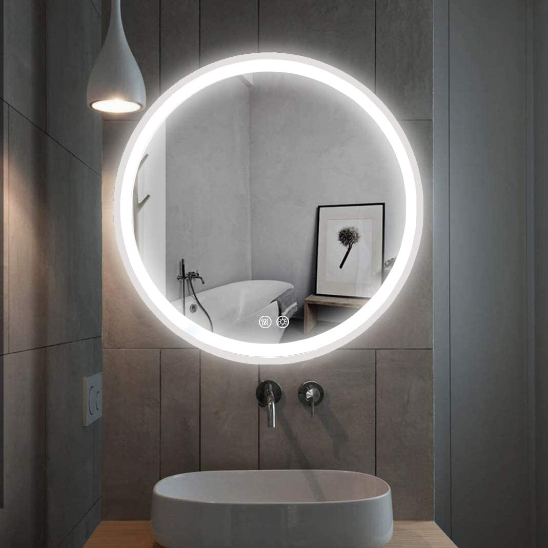 Liteharbor Round Smart Lighted Mirror with Tunable LED for Bathroom