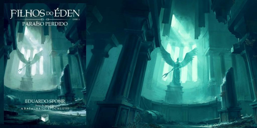 A capa do livro Filhos do Éden Paraíso Perdido, com uma estátua angelical em um cenário parcialmente destruído